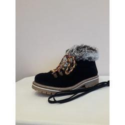 Boots montagne en cuir fourrée noir