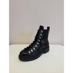 chaussures montante en cuir effet croco noir