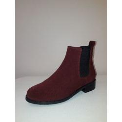 Boots en cuir Bordeaux