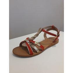 sandale en croûte de cuir corail
