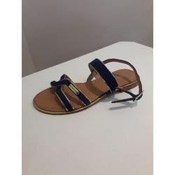 Sandale en croûte de cuir marine