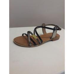 Sandale en cuir Noir et Or