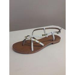 Sandale à entre-doigts  en cuir blanc avec clous