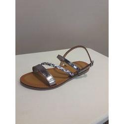 Sandales plates  en cuir Etain