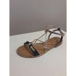 Sandales plates en cuir noir et doré