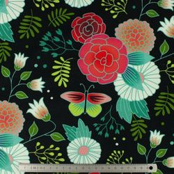 Tissu Albstoffe sweet home garden Fond noir (10cm)