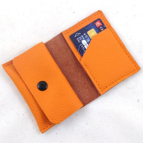 Mini-Portefeuille en cuir mandarine couture orange PF102