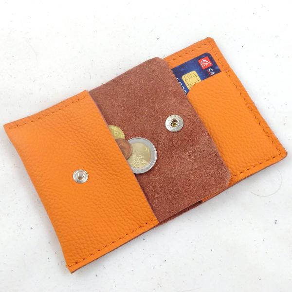 Mini-Portefeuille en cuir mandarine couture orange PF102 - image 1
