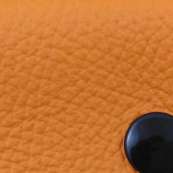 Mini-Portefeuille en cuir mandarine couture orange PF102 - image 2