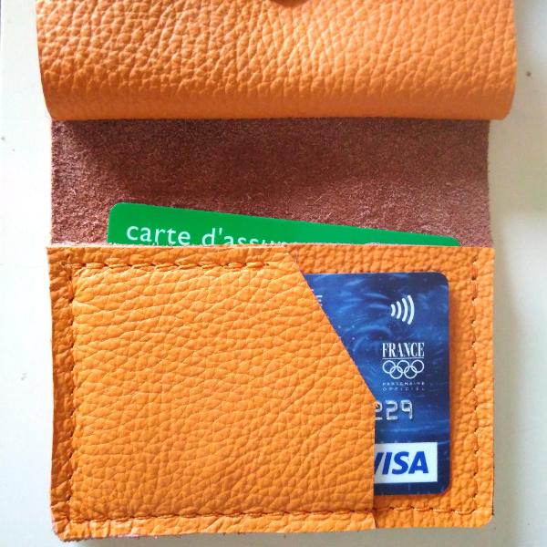 Mini-Portefeuille en cuir mandarine couture orange PF102 - image 3