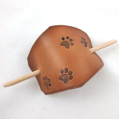 Barrette à cheveux en cuir motif pattes de chat