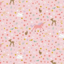 Tissu coton glitter sweet unicorns Poppy fond rose