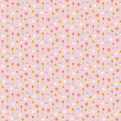Tissu coton glitter sweet flowers Poppy fond rose
