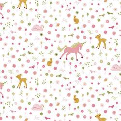 Tissu coton Poppy glitter licornes sur fond blanc