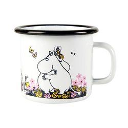 Tasse décorée en fer émaillé blanche - Moomin