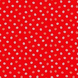 """Tissu coton """"Lips"""" sur fond rouge"""