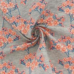 Tissu Sweat French Terry HANA fond gris (x10cm)