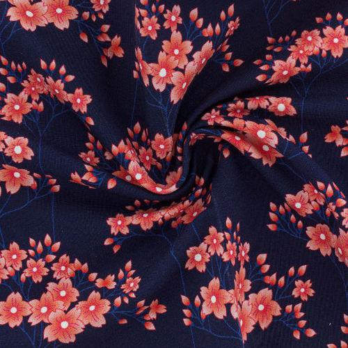 Tissu Sweat French Terry HANA fond bleu (x10cm)