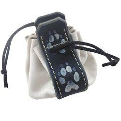 Bourse en cuir couleur blanc motif patte de loup BO148