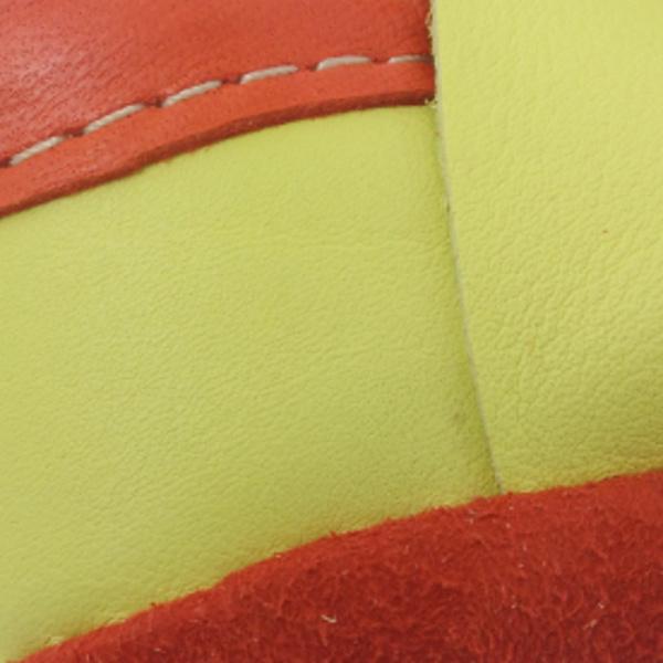Chausson bébé en cuir jaune et orange motif trefle CH006 - image 2