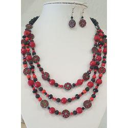 Collier rouge et noir trois rangs et boucles assorties